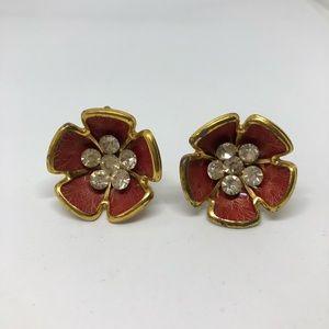 Vintage brown flower screw ons